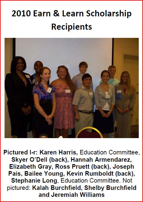 2010 earn learn scholarship recipients